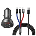 Baseus Digital Display USB Car Charger & 3-in-1 Cable TZCCBX-0G - Black