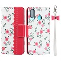 Floral Pattern Huawei P30 Lite Wallet Case - Hot Pink