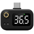 Portable Mini USB-C Intelligent Thermometer - Black