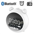 Retro Bluetooth Speaker with FM Radio & LED Alarm Clock JKR-8100 - White